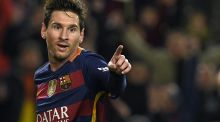 Barcelona's Argentinian forward Lionel Messi celebrates a goal during the Spanish Copa del Rey semi-final against Valencia. Photograph: Getty Images