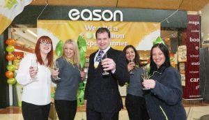 Easons store in Fairgreen shopping centre in Carlow town sold the €15 quick-pick winning ticket for the January 29th draw. Eason Store Co-owner Eoin Hennigan is pictured here celebrating with staff from left:Caterine Lyons; Jola Ceglowska; Sonya Cullen and Mary Clare.