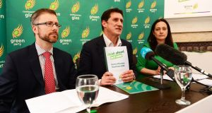 Green agenda: At the Green Party manifesto launch in Dublin were (from left): party chairman Roderick O Gorman, leader Eamon Ryan and deputy leader Catherine Martin. Photograph: Cyril Byrne/The Irish Times