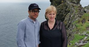 Star Wars: JJ Abrams, director of The Force Awakens, with Minister for Arts and Heritage Heather Humphreys on Skellig Michael in 2014