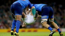 France's Mathieu Bastareaud and Yoann Maestri tackle Rory Best of Ireland during the Rugby World Cup clash at the Millennium Stadium, Cardiff, last October. Photograph: James Crombie/Inpho