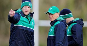 Ireland forwards coach Simon Easterby with Joe Schmidt. Photograph: Cathal Noonan/Inpho