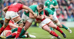 Ireland's Jack McGrath in action against Wales. Photograph: Dan Sheridan/Inpho