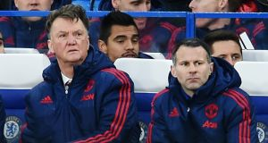 Louis Van Gaal with  Ryan Giggs: 'A lot of the media is inventing stories,' says Van Gaal. Photograph: Andy Rain/EPA