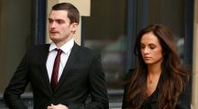 Adam Johnson arrives at Bradford Crown Court with his girlfriend Stacey Flounders. Photograph: Reuters
