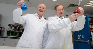 Chanelle managing director Michael Burke and Taoiseach Enda Kenny at the announcement  of the generic drug group's new production facility in Loughrea in Co Galway. Photograph: Michael Dillon