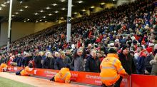Liverpool fans leave the stands after 77 minutes during during last week's Premier League match between Liverpool and Sunderland at Anfield in protest against the club's plan to increase ticket prices. Photograph: Lindsey Parnaby/AFP/Getty Images