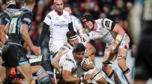 Ulster's Nick Williams is tackled during his side's win over Glasgow. Photograph: Inpho
