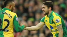 Norwich City's Robbie Brady (right) celebrates scoring his side's first goal of the game Photograph: Chris Radburn/PA Wire