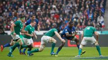 France's Yacouba Camara tries to evade the Irish defence during the Six Nations match between France and Ireland at the Stade de France,  Paris, on Saturday.   Thomas Samson/AFP/Getty Images