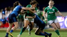 France's Elodie Poublan and Lucile Godiveau tackle Sene Naoupu of Ireland Photograph: Inpho/Ryan Byrne