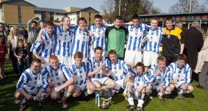 Blackrock College team celebrate after winning the 2003 FAI Schools Dr Tony O'Neill Cup. Photo: Inpho