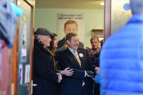 Taoiseach Enda Kenny  during a general Election canvassing stop at Ballaghaderreen Co. Roscommon. Photograph: Alan Betson / The Irish Times
