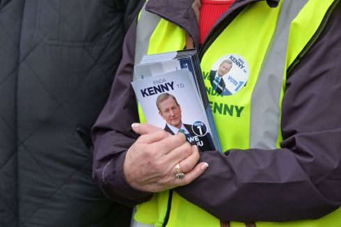 Supporters of Taoiseach Enda Kenny  during a general Election canvassing stop at Ballyhaunis Co. Mayo. Photograph: Alan Betson / The Irish Times