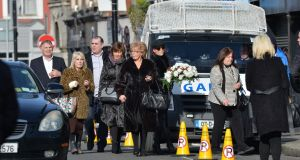 Mourners at the funeral of  David Byrne on Francis Street in Dublin. Photograph: The Irish Times