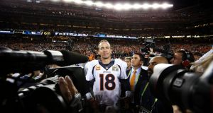 Peyton Manning celebrates winning his second Super Bowl, with the Denver Bronco. Photograph: Doug Mills/The New York Times