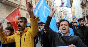 Syrian Turkmens protest at Russian military intervention: their identity is closer to Ottoman Turkey than Syria's official Arabism. Photograph: Basin Foto Ajansi/Lightrocket/ Getty Images