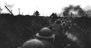 British soldiers wait in the trenches on the Western Front during the first World War. Photograph: HO/Reuters