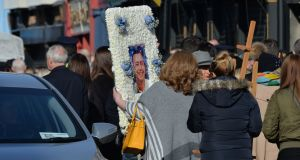 The funeral of David Byrne at St Nicholas of Myra Church on Francis Street.
