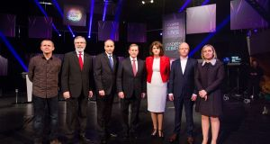 Richard Boyd Barrett, Gerry Adams, Micheal Martin, Taoiseach Enda Kenny,  Tanaiste Joan Burton, Stephen Donnelly,  and Lucinda Creighton at the RTE Claire Byrne Live Leaders Debate. Photograph: FusionShooters.