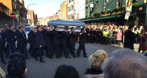 The funeral of David Byrne, who was murdered in a gangland attack at the Regency Airport Hotel, at the Church of St Nicholas of Myra at Francis Street in Dublin.