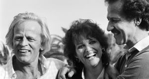 Claudia Cardinale with Werner Herzog and Klaus Kinski at Cannes film festival for Fitzcarraldo in 1982