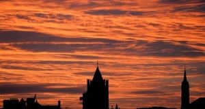 The spires of Christ Church and St Audoen's. Easter Sunday services at Christ Church Cathedral and six Church of Ireland parishes in Dublin city centre have been cancelled. Photograph: The Irish Times