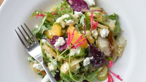 Roast and Raw Fennel , blood orange and Goats Cheese Salad. Photograph: Alan Betson / The Irish Times