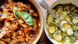 Stewed Courgettes and Caponata. Photograph: Alan Betson