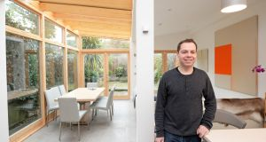 Home comforts: 'We feel as though we're actually sitting in the garden,' says  Oliver Sears, in  the extension to his home in Ranelagh, Dublin. Photograph: Eric Luke