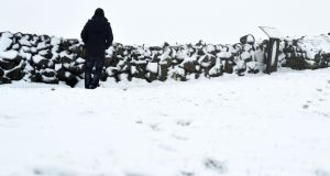 Snowfalls on the Dromara Hills, Co Down. Photograph: Colm Lenaghan/Pacemaker Press