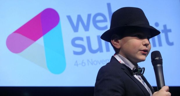 Eric Lassard (11) from Clondalkin  speaking on the Peoples Stage about his website for Children - www.ericlassard.com - at the Dublin Web Summit in 2014. Photograph: Sam Boal /Photocall Ireland