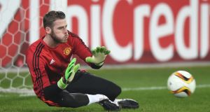 Manchester United goalkeeper David de Gea was injured during the warm-up for the  Europa League  match against FC Midtjylland  at  MCH Multi Arena  in Herning. Photograph:  Michael Regan/Getty Images