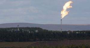 Flaring gas  at the Shell-operated Ballinaboy terminal. Photograph: Shay Fennelly