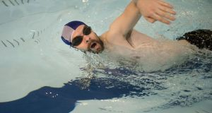 Irish Times swimmer Laurence Mackin is (slowly) getting closer to the one-mile goal.Photograph: Dara Mac Dónaill