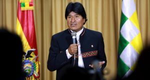 Bolivia's president Evo Morales: faces accusations of influence-peddling involving his former partner. Photograph: EPA/ABI