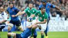 Rob Kearney was the only Irish player to offload against France and even that went straight to the opposition. Photograph: Dan Sheridan/Inpho