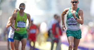 Ireland's Rob Heffernan finished fourth in the 50km walk at the London 2012 Olympic but is now in line to get the bronze medal. Photograph: Morgan Treacy/Inpho.