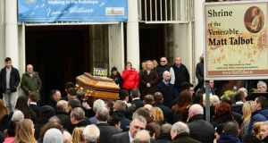 The funeral of Eddie Hutch Snr at the Church of Our Lady of Lourdes on Seán McDermott Street, Dublin