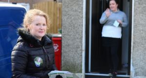 Mary Fitzpatrick, Fianna Fáil candidate in the Dublin Central constituency, canvassing in Cabra. Photograph: Dara Mac Dónaill