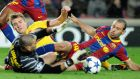 A central defender is born. The tackle on Arsenal's Nicklas Bendtne (left) by Javier Mascherano. The rest is history. Photograph: Getty Images