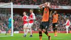 Hull City's David Meyler rues a missed chance on goal during the  FA Cup fifth-round match against Arsenal at The Emirates Stadium. Photograph:  Jonathan Brady/PA Wire