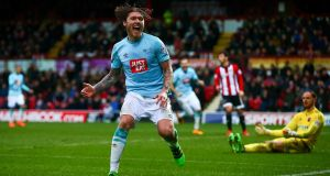 Jeff Hendrick of Derby celebrates scoring his sides first goal at Griffin Park. Photograph: Jordan Mansfield/Getty Images
