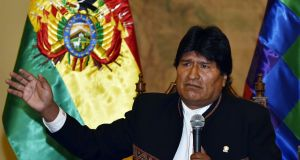 Bolivia's president Evo Morales answers questions from the press  in La Paz on Monday a day after Bolivians appear to have rejected his bid to seek a fourth term in office. Photograph: Aizar Raldes/AFP/Getty Images