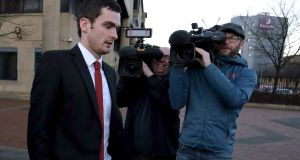 Footballer Adam Johnson leaves Bradford Crown Court on day seven of the trial where he is facing child sexual assault charges. Photograph: Nigel Roddis/Getty Images