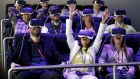 Testing the  Samsung Gear VR glasses at the Samsung  stand during the Mobile World Congress in Barcelona. Photograph: Albert Gea/Reuters