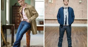 Left– Grace's choice: Salmon shirt, ¤99, Polo Ralph Lauren; beige mac jacket, ¤300, Nigel Hall; jeans, ¤69.95, Jack & Jones; brown belt, ¤65, Ted Baker; navy lace-up boots, ¤115, Hudson. Right– Emmet's choice: Grey denim jacket, ¤95, Levis; navy bomber, ¤89.95, Selected; navy jumper, ¤85, Farah; Levis jeans, ¤100; brown lace-up brogues, ¤220, Ted Baker;