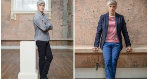 Left – Kieran's choice: Grey denim shirt, €145, All Saints; jeans, €90, Levis; black boots, €110 Bugatti; Right– Grace's choice: Red/white stripe tee, €42, Farah; navy trousers, €130, Gant; navy blazer, €199.95, Selected; white lace-ups, €65, Converse