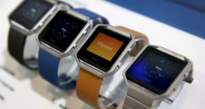 The Fitbit Blaze smartwatch tracks your fitness. Photograph:  Reuters/Steve Marcus