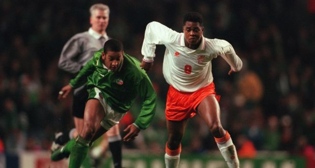 ec129a84b3 Patrick Kluivert during the European Championships play-off at Anfield in  1995. Holland went